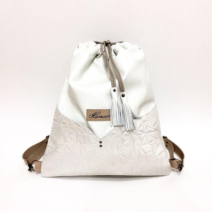 White leather Karmacsi backpack