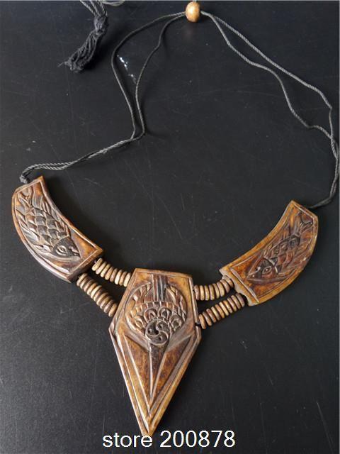 TNL178 Tibetan Yak Bone Carved Eight Lucky Babao Adjustable Choker Necklace Tibet Ethnic fashion jewelry Girls necklace