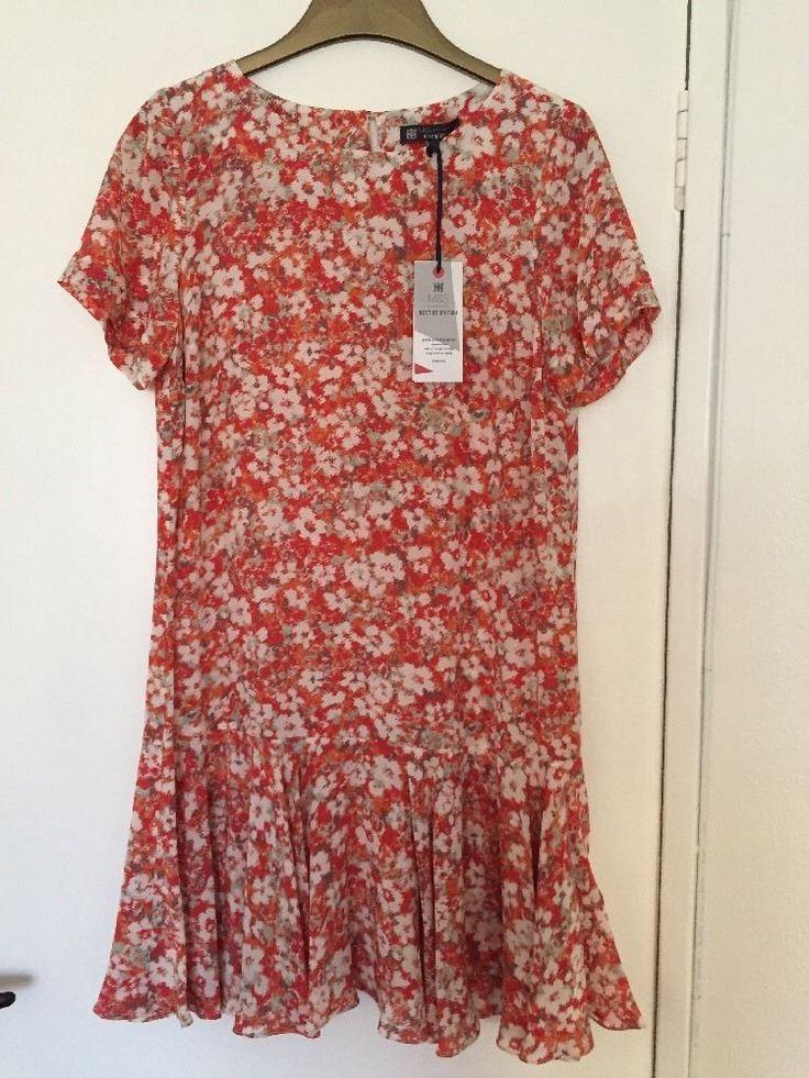 M&S BEST OF BRITISH Ladies Dress 100%PURE SILK UK14 EU42 BNWT