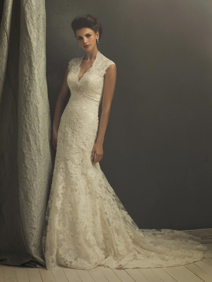 This gown is a true work of art! This gown is constructed from an elegant all over lace and lace appliqué. The romantic silhouette features cap sleeves, and a v-shaped neckline. The drama continues to the keyhole shaped back and flared skirt.     Fabric: Lace  Embellishment : Lace, Appliqué  Silhouette: Column/Sheath  Neckline:Deep V-neck  Strap: Strapless  Sleeves:Short Sleeves  Hemline: Floor-length  Back: Zipper up  Train : Chapel Train    Estimated Delivery Time: 30-40 days $369.00