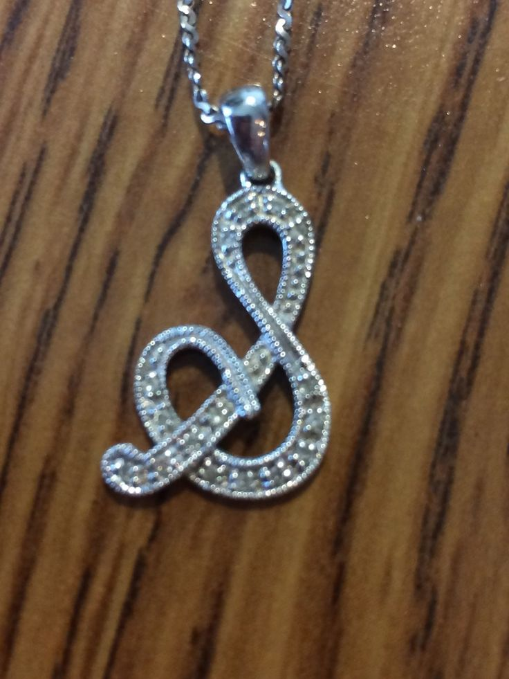 10K White Gold Cursive S pendant necklace chain made in Italy
