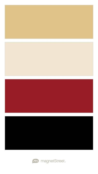 Gold, Champagne, Custom Red, and Black Wedding Color Palette - custom color palette created at MagnetStreet.com