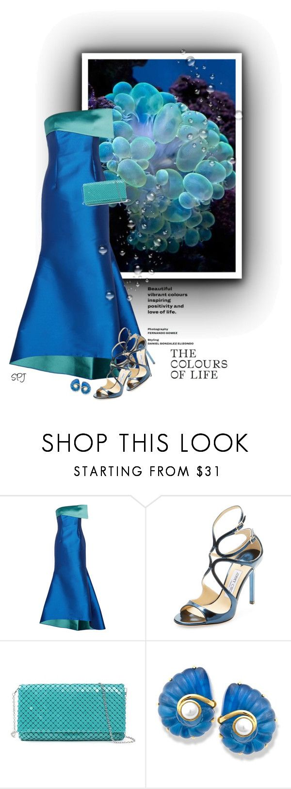 """""""Colours of the Sea"""" by s-p-j ❤ liked on Polyvore featuring NOIR Sachin + Babi and Jimmy Choo"""