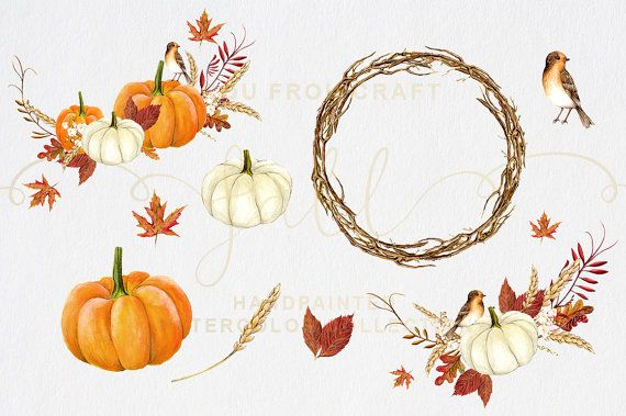 Fall Clip Art Autumn Clipart Watercolor Pumpkin от froufroucraft