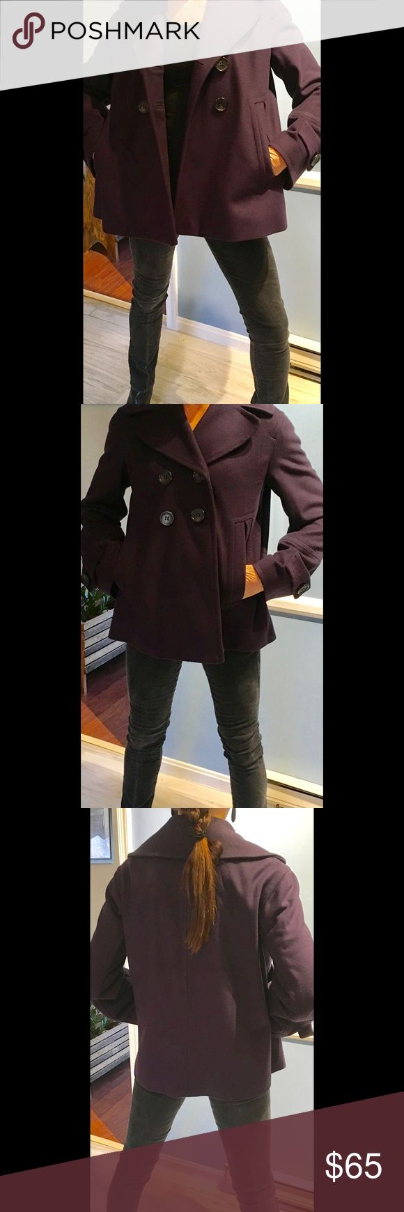 French Connection Wool Peacoat, size 8 Gorgeous Plum Wool Coat, excellent condition!! French Connection Jackets & Coats Pea Coats
