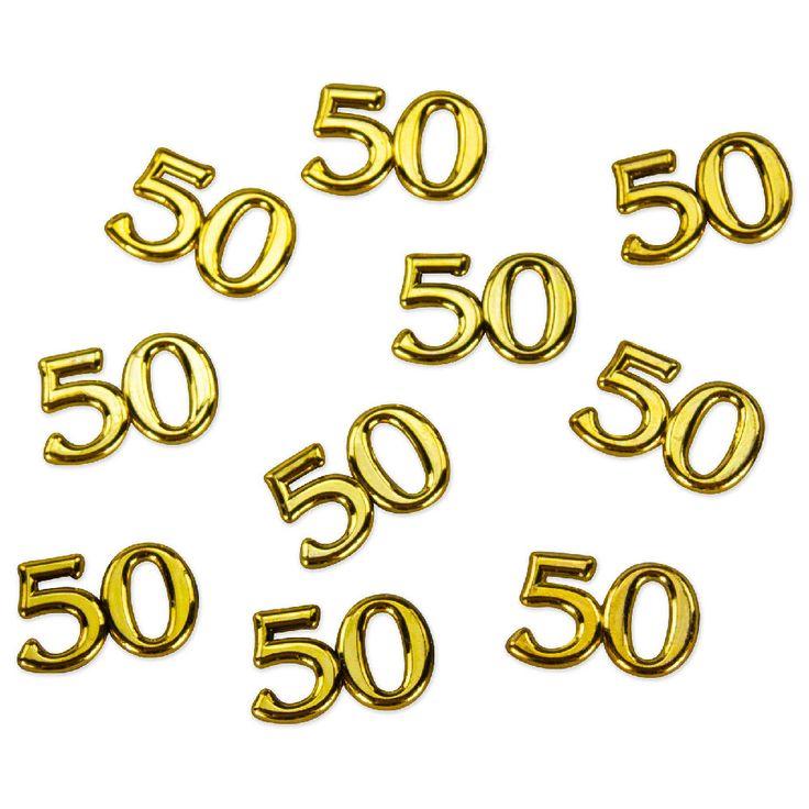 10x Konfetti Zahl 50 Deko Geburtstag Hochzeitstag Jubiläum - gold in Feierlichkeiten / Anlässe   • Geburtstag Jubiläum • Tischdekoration • Konfetti
