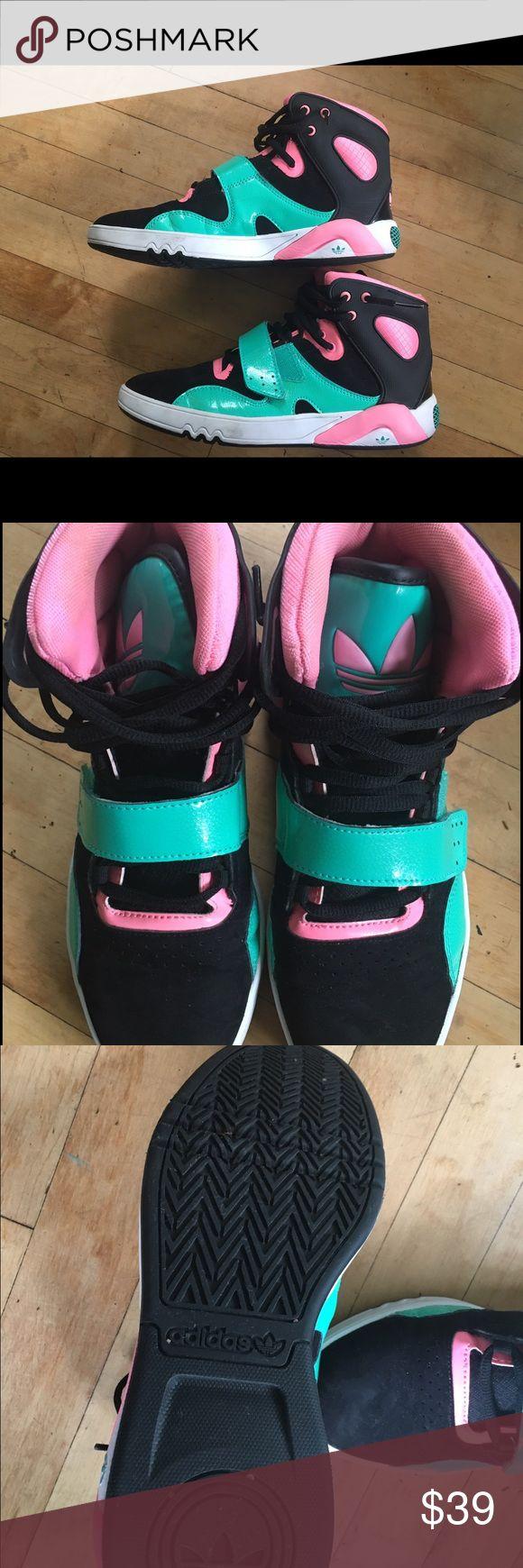 Adidas high tops worn once indoors Adidas high tops worn once indoors Adidas Shoes Athletic Shoes