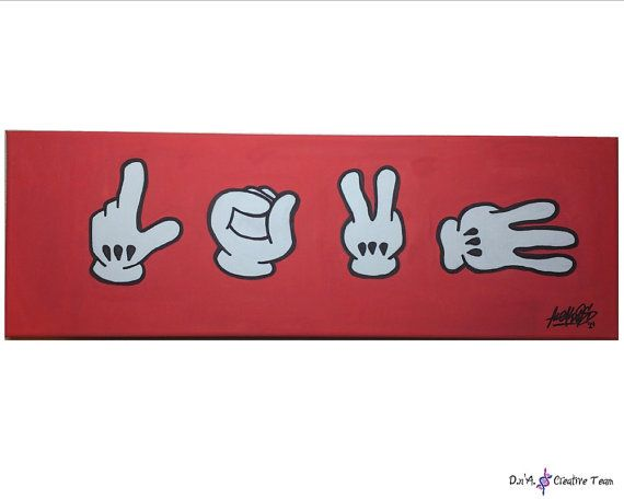 LOVE MICKEY HANDS painting with watermarkers by DnAcreativeteam