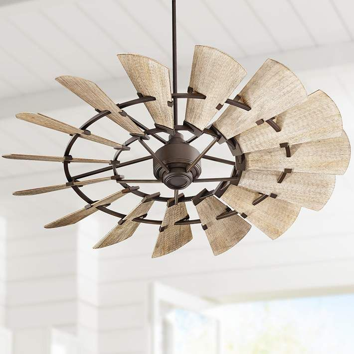60 Quorum Windmill Oiled Bronze Damp Rated Ceiling Fan 11f45