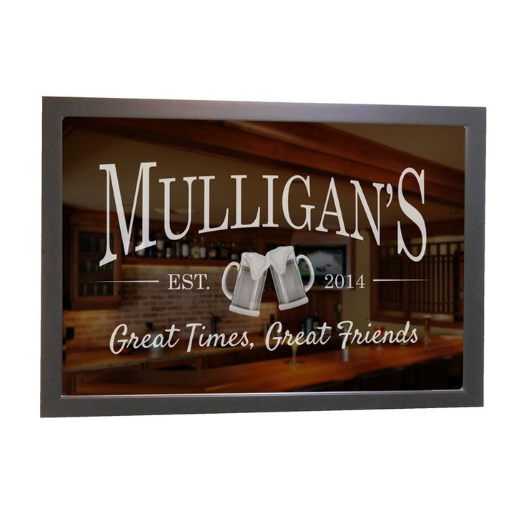 Shop now our custom engraved bar mirror, and have the beer mugs design personalized with your name or other wording. A perfect finishing piece to your home bar.