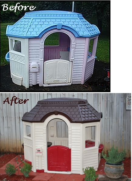 So after seeing on Pinterest, I attempted the painted playhouse project. I don't recommend it, but we will see how it holds up. It took me 25 cans of spray paint for our large playhouse. Dis-assembly and reassembly was extremely challenging. The paint scratches so easily! I primed, painted several coats and used clear gloss sealer.