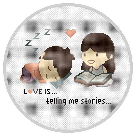 LOVE IS...Cross Stitch Pattern Wedding cross stitch Modern cross stitch Couple…