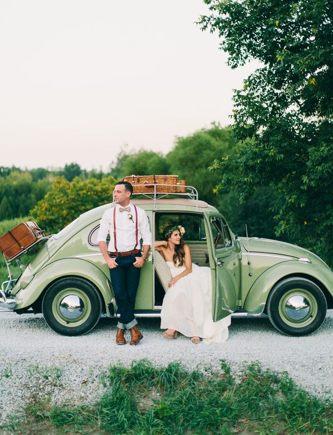 vw bug. Katy +Tyler, Ontario Barn Wedding, Sagewood Farm, Shot by Steve Stanton Photography.