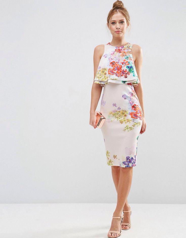 asos double ruffle floral crop top midi pencil dress at asos com