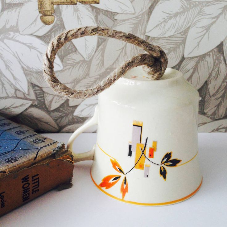 Orange Deco Patterned Vintage Tea Cup Bird Feeder