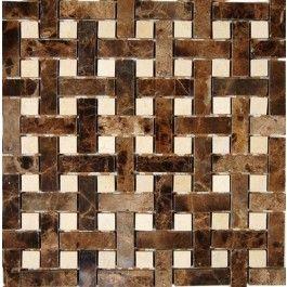 Basket Weave Dark Emperador 1/2X2 With Crema Marfil Dot 1/2X1/2 Stone Tile - Shop Stone Tiles At TileBar.Com