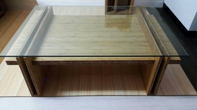 Solid Bamboo Coffee Table with glass top