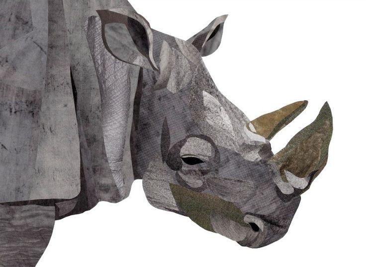 Collage White Rhino illustration by wildlife illustrator, Jonathan Woodward. #Collage #Rhinoceros