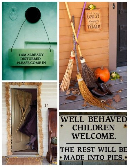 Brooms and sign