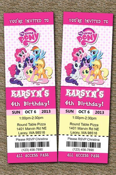 My Little Pony Ticket Invitations                                                                                                                                                                                 Plus