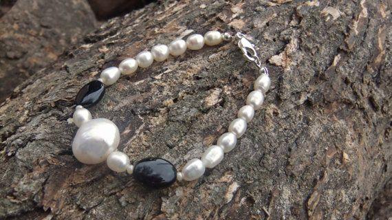 Freshwater Pearl and Onyx gemstone bracelet by ellenisworkshop, $49.00