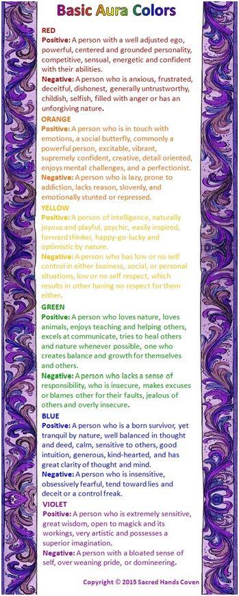 aura colors, auras, witchery, witchcraft, correspondences,