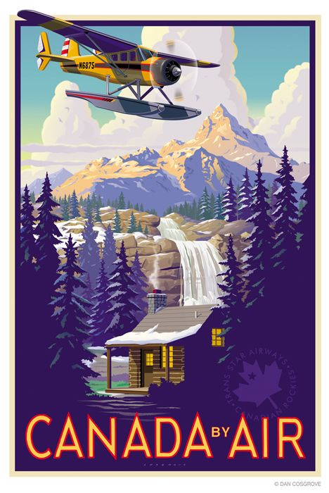Canada by Air vintage travel poster ~ waterfalls, cabin, bi plane