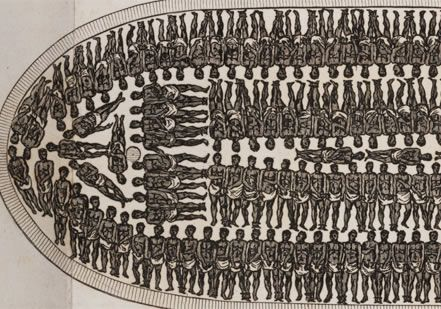 Detail slave ship layout - packed in close, unsanitary quarters, many slaves did not survive the voyage
