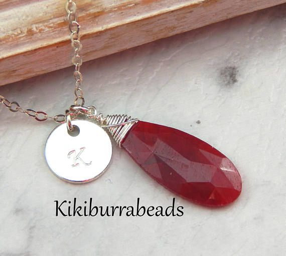 Ruby NecklaceJuly Birthstone NecklacePersonalized Initial