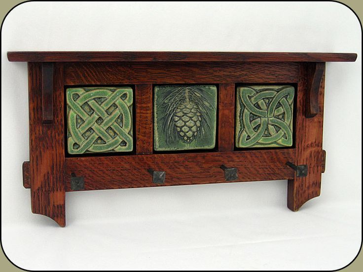 "Celtic, Craftsman, and pinecones!  Craftsman Key Rack w/ three - 3"" Tiles."