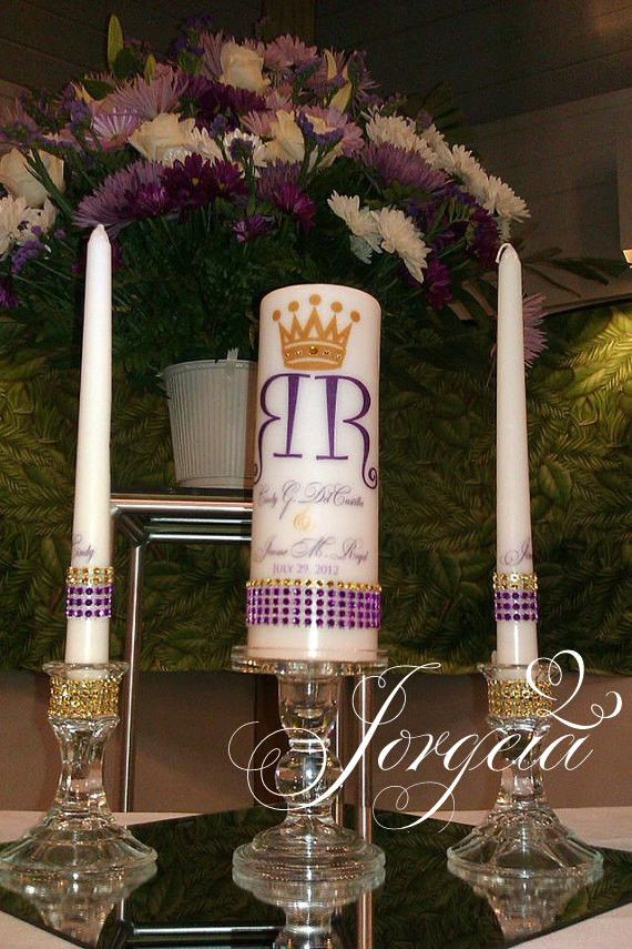 church wedding decorations candles%0A Royal Unity candle set  Ghana Wedding  Church Wedding  Gold and Purple  Wedding