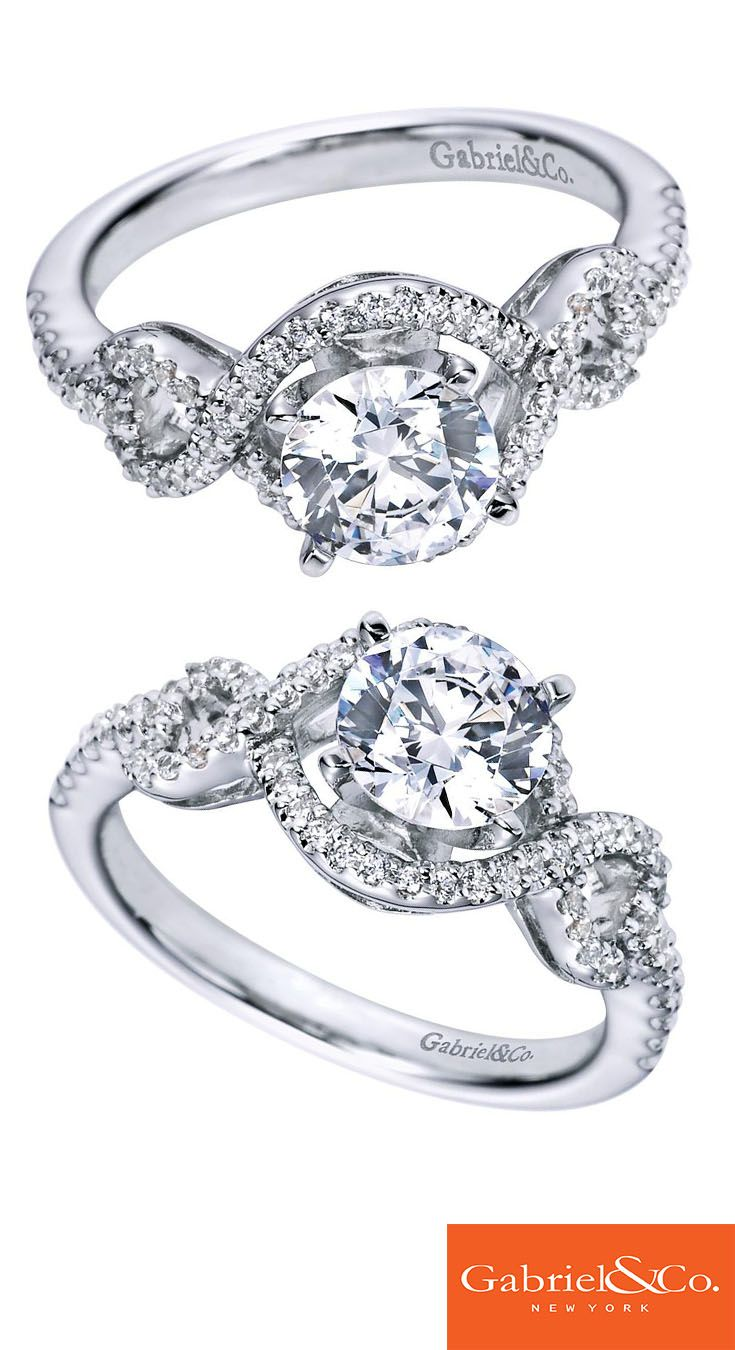 Gabriel & Co. - A beautiful 14k White Gold Diamond Halo Engagement Ring.