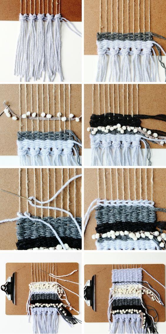 Hacer una de bricolaje Mini teje usando un portapapeles como un telar