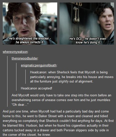 """""""Sherlock and Mycroft annoy each other headcannon. This is just brilliant."""""""