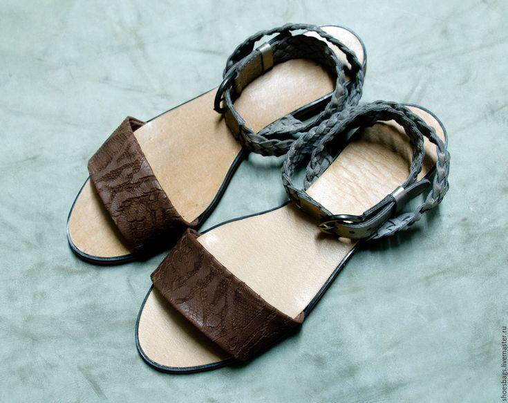 Купить Чудесные сандалики с плетением - комбинированный, серебряный, сандалии из кожи, кожаные сандалии, сандалии вечерние