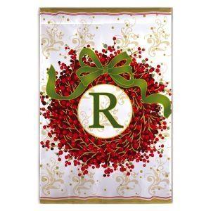 Berry Wreath Monogram R Garden Flag