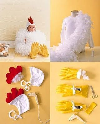 DIY chicken (rooster?) costume. Cutest thing ever! #halloween #diy