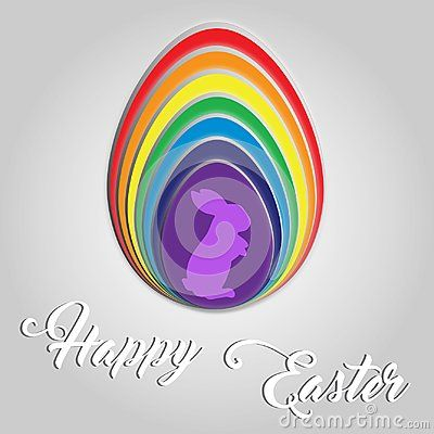Happy Easter egg rainbow color`s. Slices of egg stack on each other in rainbow color. Happy Easter words  text hand writing font isolated on grey  background. Cute fluffy rabbit silhouette.