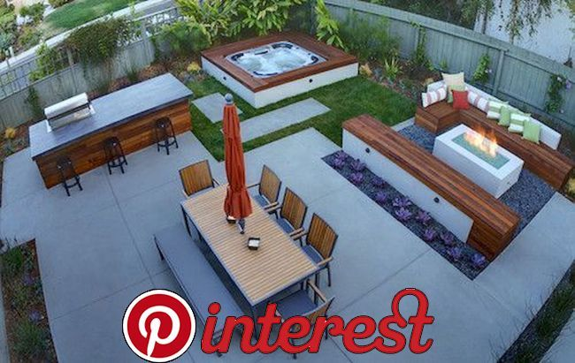Modern Outdoor Kitchen Designs With Beautiful Dining Areas Hot Tub Backyard Hot Tub Landscaping Modern Outdoor Kitchen