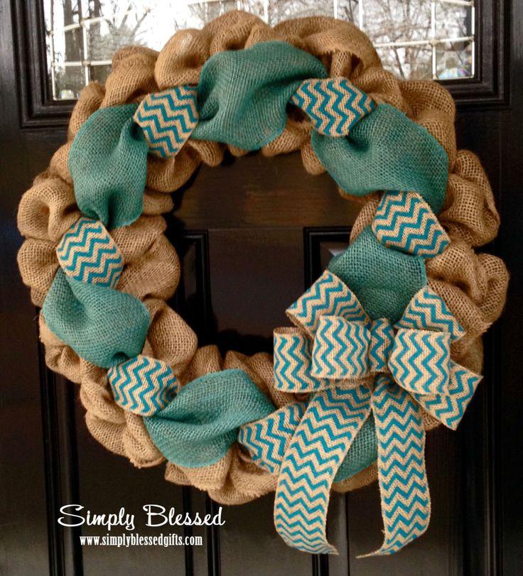 Teal Chevron Burlap Wreath 22 inch front door by SimplyBlessedGift