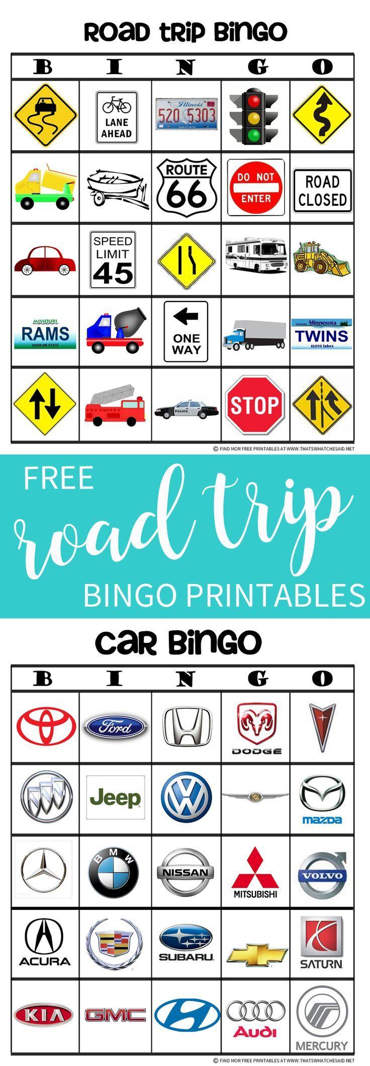 How to scrapbook a road trip - Road Trip Bingo Free Printables