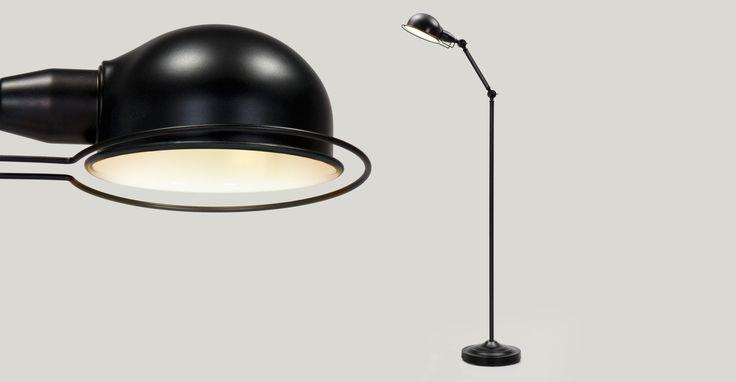 Jenkins, lampadaire, noir satiné