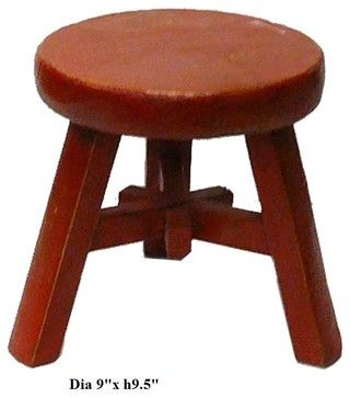 Chinese Rustic Red Color Kid Small Wood Round Stool - Eclectic ...