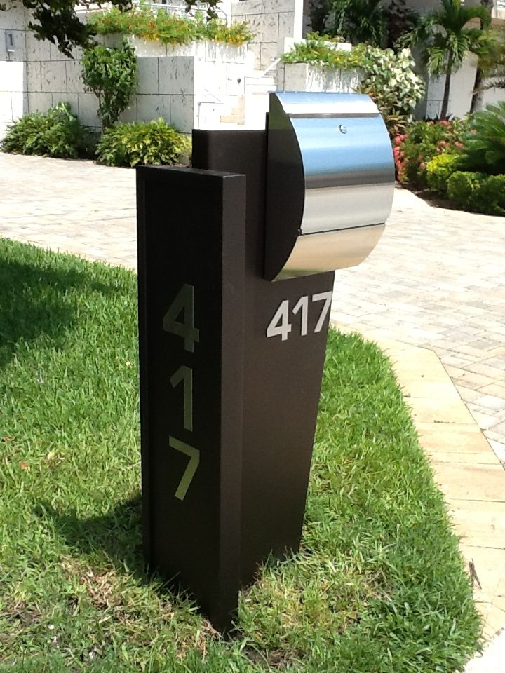 stainless steel modern curbside mailbox landscaping