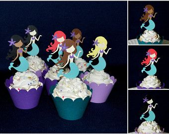 Sirenita Cupcake Topper púrpura y verde azulado en la comida de mar Cupcake decoración elegir envoltura de la Magdalena de cumpleaños bebé ducha listo para enviar