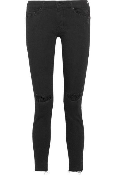 Mother - Looker Distressed Mid-rise Skinny Jeans - Black - 26