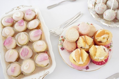 Vintage garden baby shower 10 rosewater cupcakes, butterfly cakes with ...