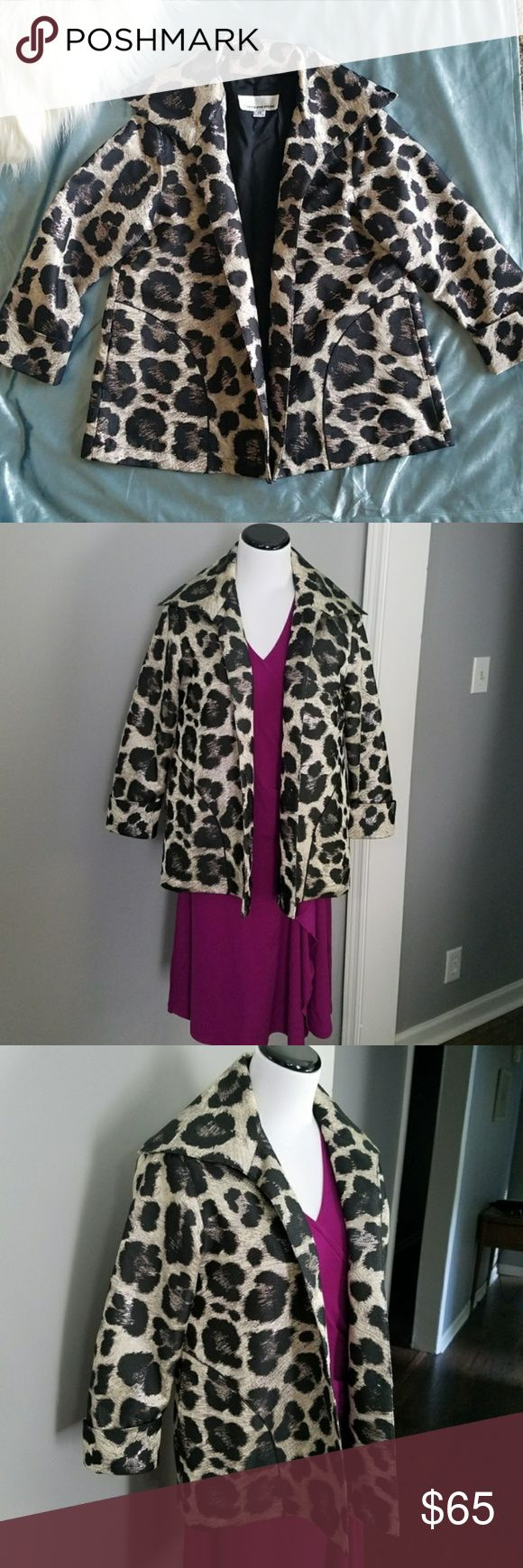 Caroline Rose Jacquard Leopard Jacket Caroline Rose  SIZE XS Open front jacket. Stunning print and fabric. Purchased from Neiman Marcus. Looks fabulous with dresses or adding style to jeans with heels. Excellent condition. Caroline Rose Jackets & Coats