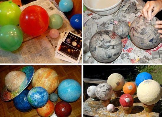 van pinterest....planeten maken... leuk voor het thema op school of voor te knutselen met de kids