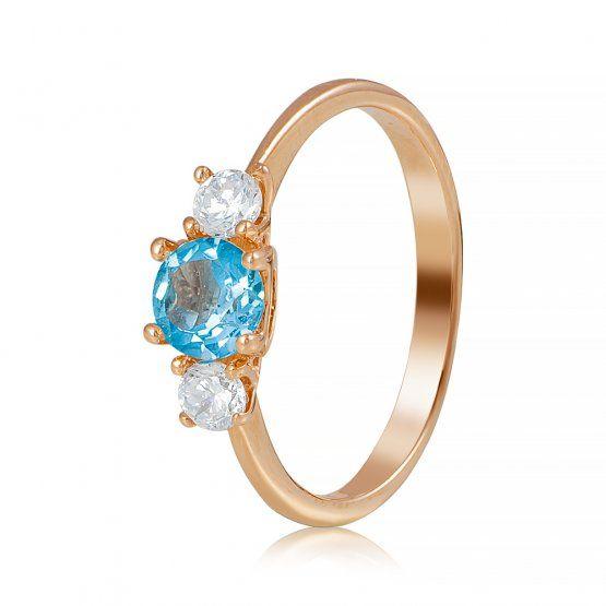 """Золотое кольцо с топазом """"Весенний букет"""", красное золото, КД4025ТОПАЗ"""